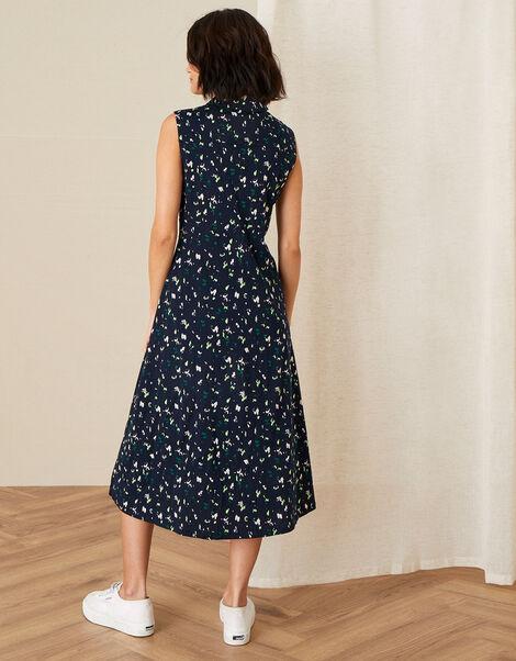Tracy Printed Jersey Midi Dress Blue, Blue (NAVY), large