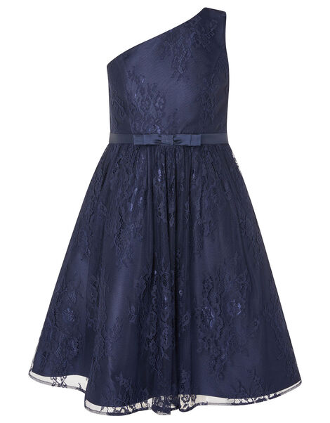 Lace One-Shoulder Prom Dress Blue, Blue (NAVY), large
