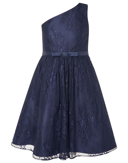 Lace One-Shoulder Prom Dress, Blue (NAVY), large