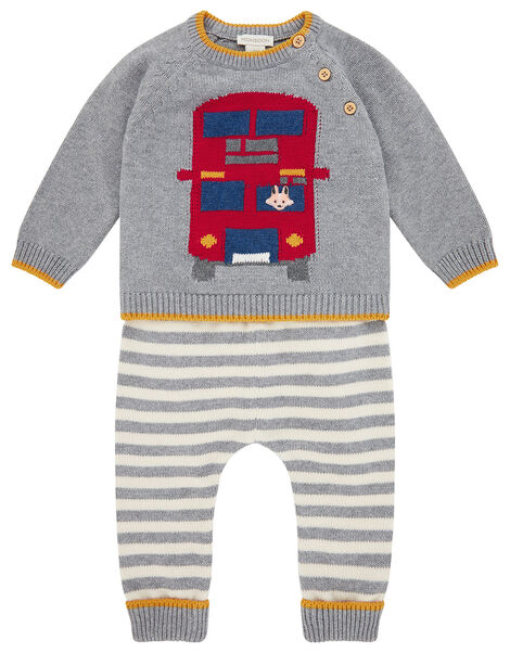 Newborn Baby London Bus Knit Set Grey, Grey (GREY), large