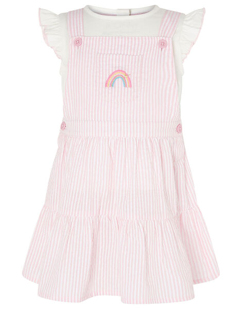 Baby Stripe Pinny and Top  Pink, Pink (PINK), large