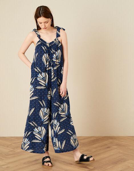 Zola Floral Wide Leg Jumpsuit Blue, Blue (NAVY), large