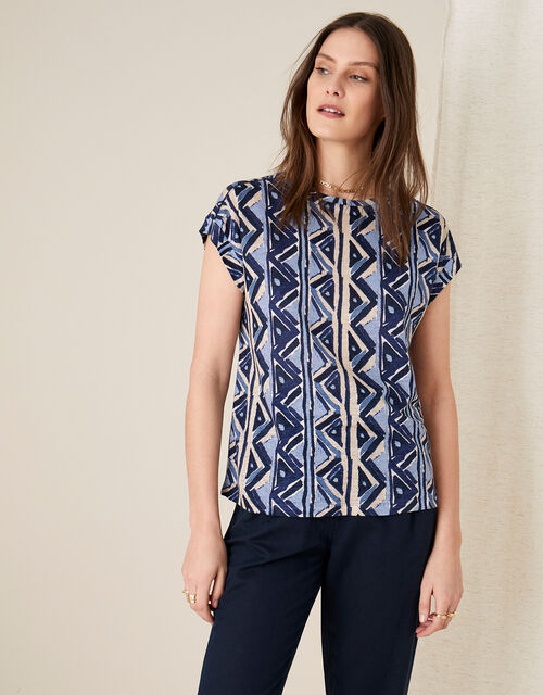 Berta Printed Top in Pure Linen, Blue (NAVY), large