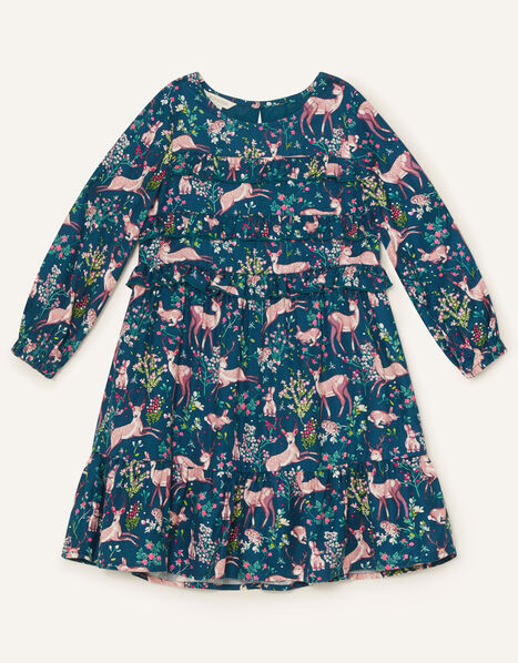 Woodland Print Woven Dress  Teal, Teal (TEAL), large