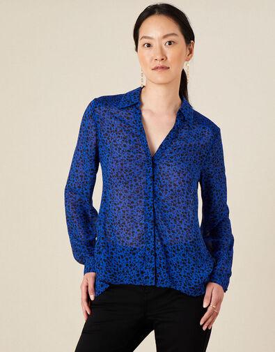 Ditsy Floral Longline Blouse Blue, Blue (COBALT), large