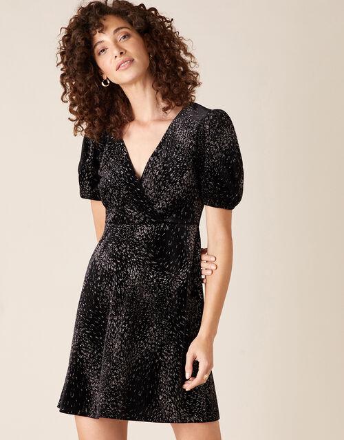 Georgie Glitter Stretch Velvet Dress, Black (BLACK), large