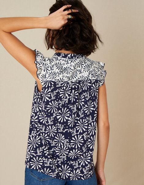 Calli Printed Sleeveless Top Blue, Blue (NAVY), large