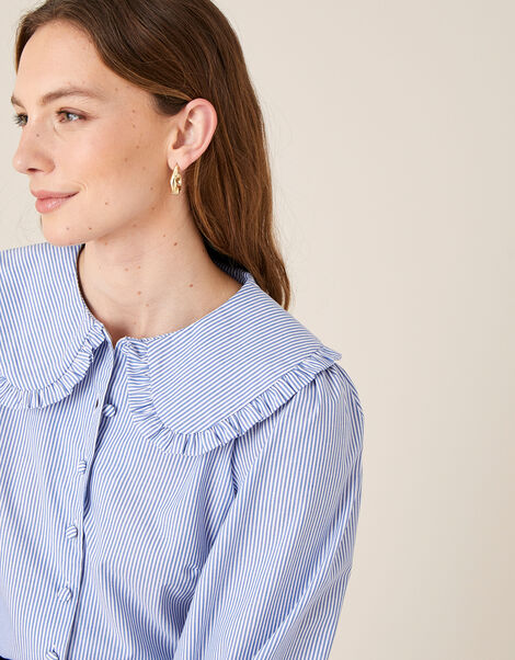 Frill Collar Stripe Poplin Shirt Blue, Blue (BLUE), large
