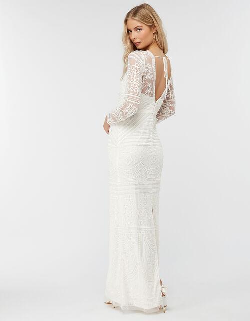 Charlotte Geo Embellished Maxi Wedding Dress, Ivory (IVORY), large
