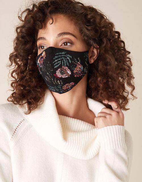 Floral Embellished Face Mask, , large