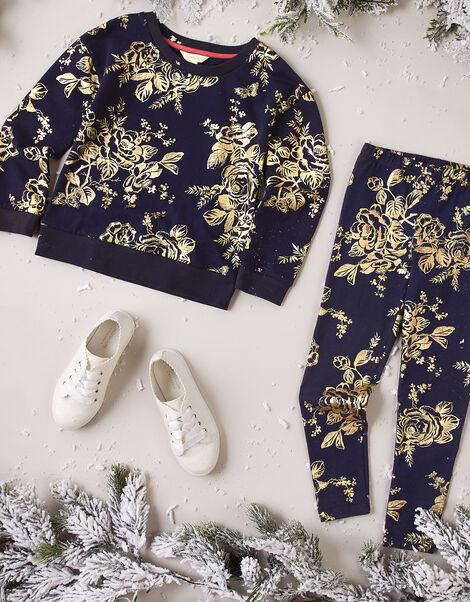 Foil Flower Sweatshirt and Joggers Set Blue, Blue (NAVY), large