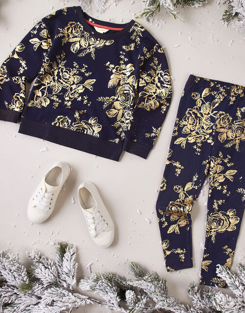 Foil Flower Sweatshirt and Joggers Set, Blue (NAVY), large