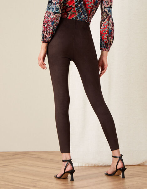 Cecily Suedette Leggings Brown, Brown (CHOCOLATE), large