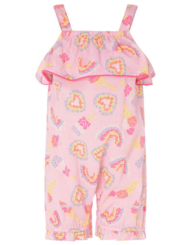 Baby Heart and Rainbow Frill Jumpsuit Pink, Pink (PALE PINK), large