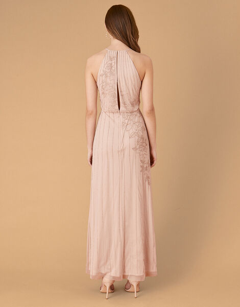 Summer Beaded Floral Maxi Dress Pink, Pink (PINK), large