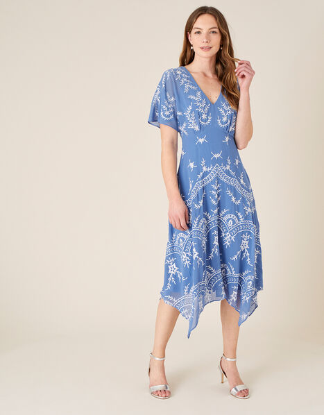 Daisy Embroidered Hanky Hem Dress Blue, Blue (BLUE), large