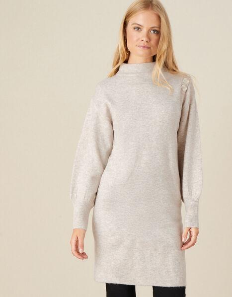 Carys Button Shoulder Knit Dress Camel, Camel (OATMEAL), large