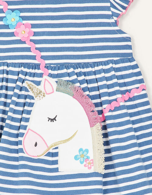 Baby Unicorn Stripe Dress, Blue (BLUE), large