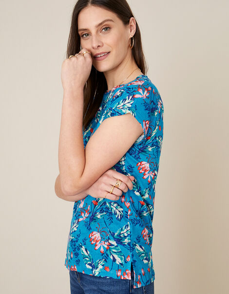 Brady Printed Top in Pure Linen Blue, Blue (BLUE), large