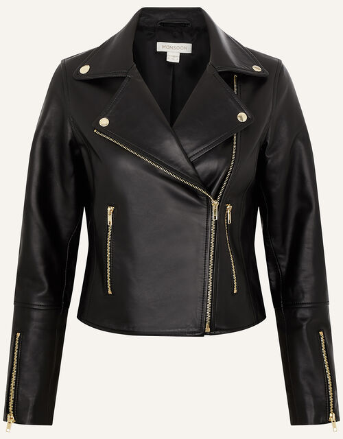 Leather Biker Jacket , Black (BLACK), large