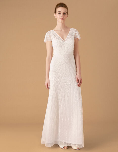 Marilyn Floral Embellished Bridal Dress Ivory, Ivory (IVORY), large