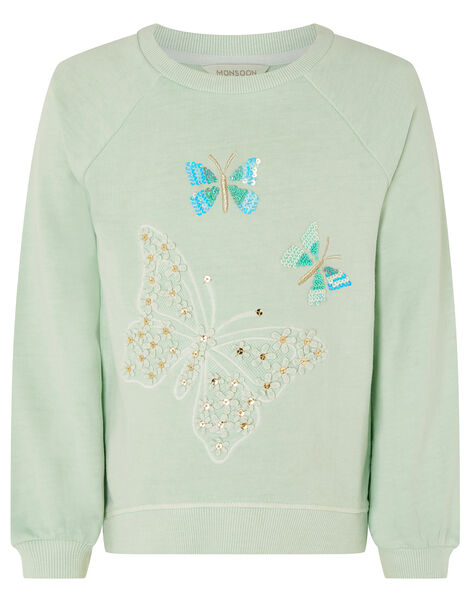 Embellished Butterfly Sweatshirt Blue, Blue (TURQUOISE), large