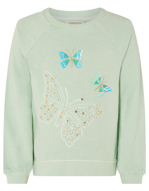 Embellished Butterfly Sweatshirt, Blue (TURQUOISE), large