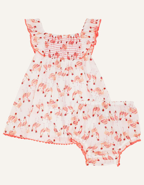 Newborn Flamingo Dress and Briefs Set White, White (WHITE), large