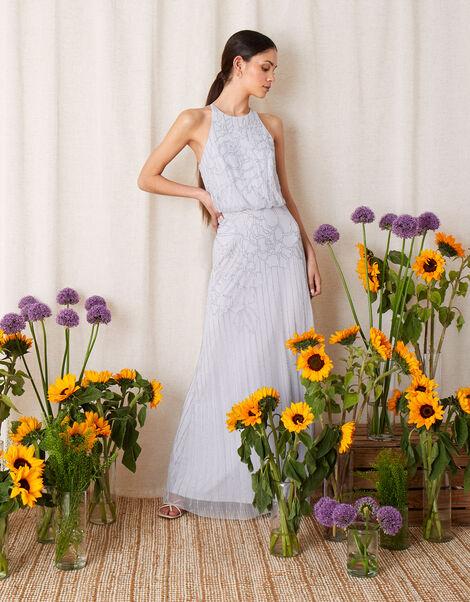 Bianca Floral Beaded Maxi Dress Blue, Blue (BLUE), large