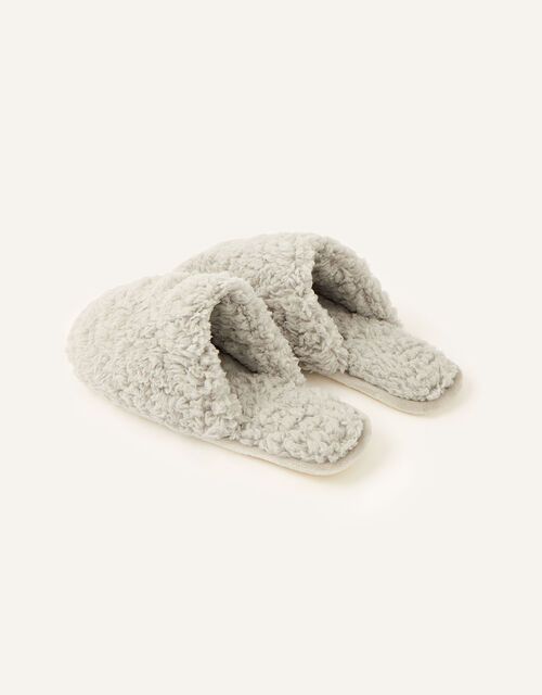 Fluffy Mule Slippers, Grey (GREY), large