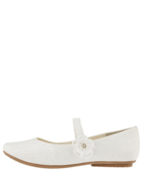 Tiana Shimmer Lace Corsage Ballerina Shoes, Ivory (IVORY), large
