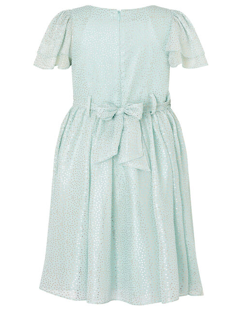 Foil Spot Flutter Sleeve Dress, Green (MINT), large