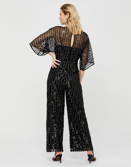 Lorelai Sequin Jumpsuit, Black (BLACK), large