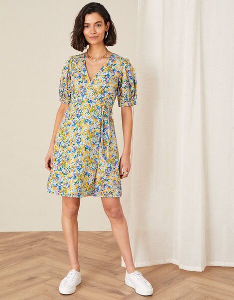 Louis Floral Poplin Dress in Organic Cotton Blue, Blue (BLUE), large