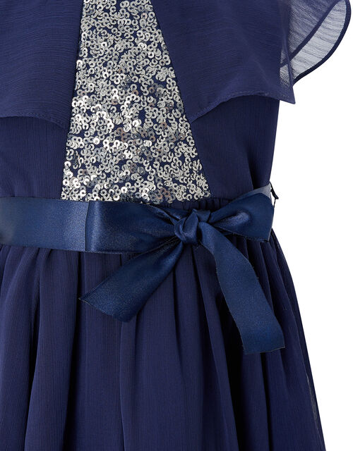 Baby Sequin Cape Dress in Recycled Fabric, Blue (NAVY), large