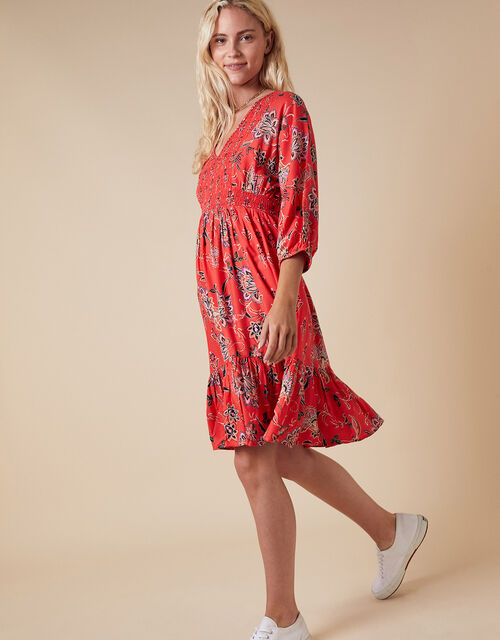 Floral Print Mini Dress in LENZING™ ECOVERO™, Red (RED), large