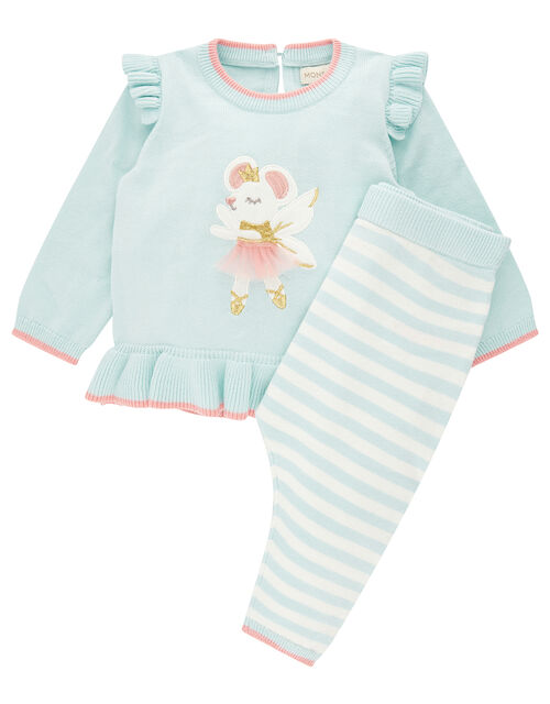 Newborn Baby Ballerina Mouse Knit Set, Blue (AQUA), large