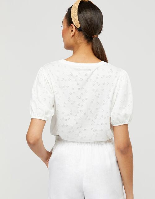 Petunia Puff Sleeve T-shirt, Ivory (IVORY), large