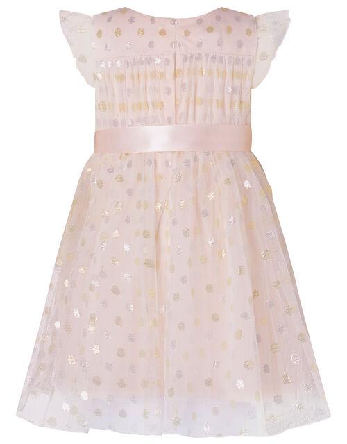 Baby Metallic Spot Dress, Pink (PALE PINK), large