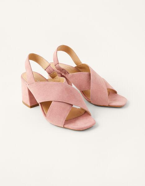 Suede Cross-Over Block Heel Sandals Pink, Pink (BLUSH), large