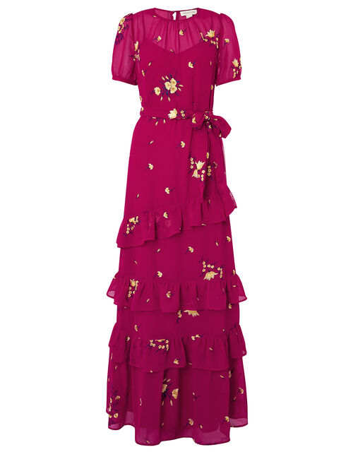 Lexie Floral Tiered Frill Maxi Dress, Pink (PINK), large