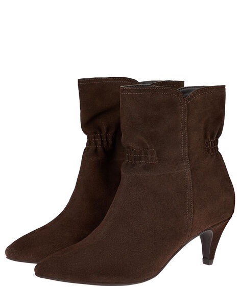 Ruched Suede Ankle Boots Brown, Brown (CHOCOLATE), large