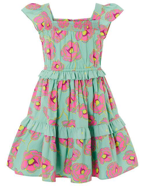 Bold Floral Ruffle Dress, Green (GREEN), large