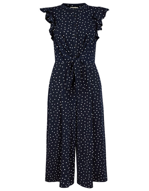 Spot Print Cropped Jumpsuit with Recycled Fabric, Blue (NAVY), large