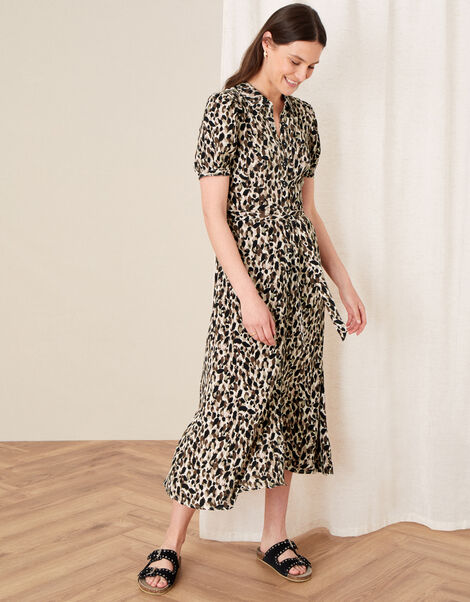 Animal Print Shirt Dress Brown, Brown (BROWN), large