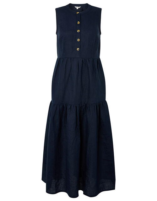 Tiered Midi Dress in Pure Linen, Blue (NAVY), large