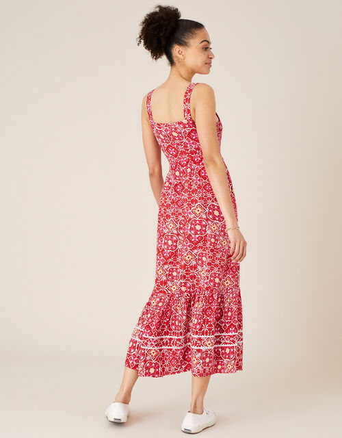 Ebony Printed Sundress in LENZING™ ECOVERO™ , Red (RED), large