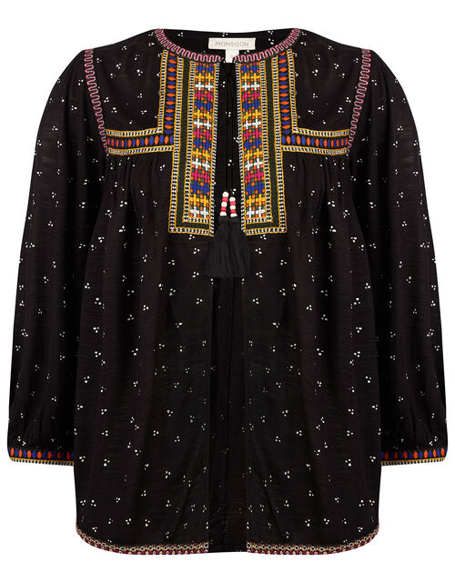 Malakai Embroidered Jersey Cardigan, Black (BLACK), large