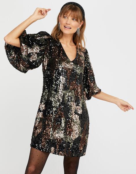 Carmen Camo Sequin Short Dress Black, Black (BLACK), large