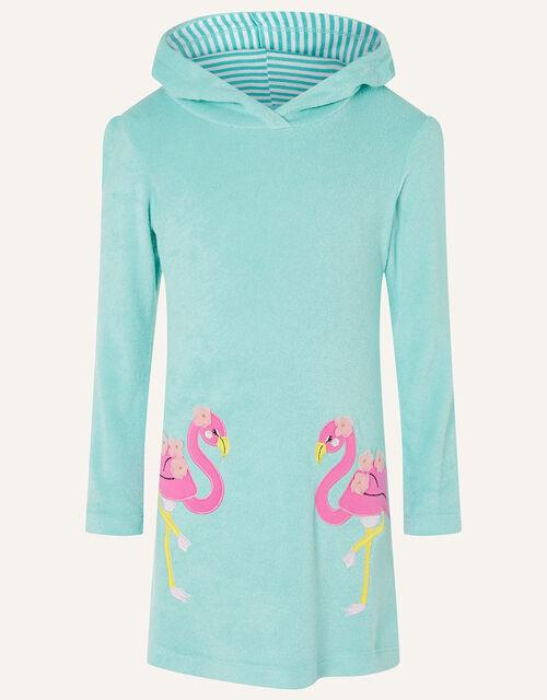 Flamingo Towelling Dress, Blue (TURQUOISE), large